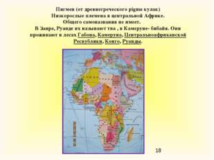 Пигмеи (от древнегреческого pigme кулак) Низкорослые племена в центральной Аф