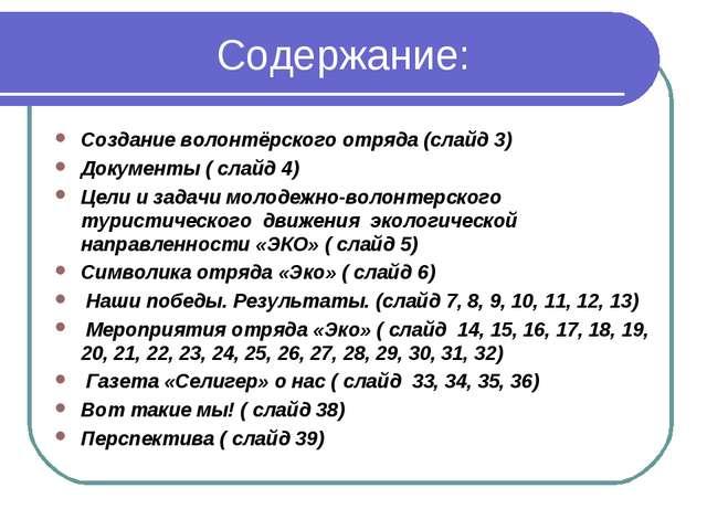 Содержание: Создание волонтёрского отряда (слайд 3) Документы ( слайд 4) Цел...