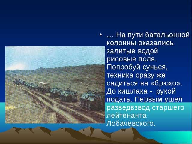 … На пути батальонной колонны оказались залитые водой рисовые поля. Попробуй...