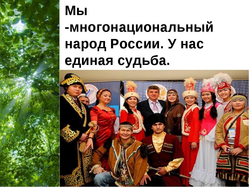 Мы -многонациональный народ России. У нас единая судьба. Free Powerpoint Temp...