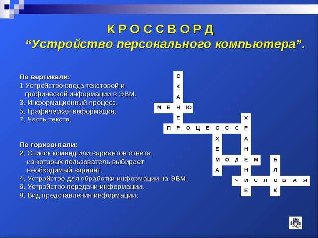 По вертикали: 1 Устройство ввода текстовой и графической информации в ЭВМ. 3....