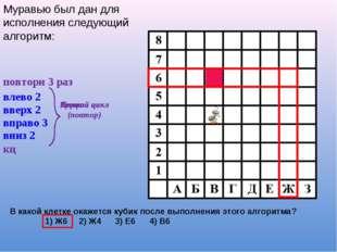 В какой клетке окажется кубик после выполнения этого алгоритма? 1) Ж6 2) Ж4 3