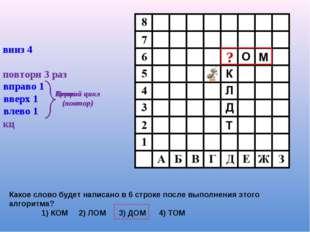 Какое слово будет написано в 6 строке после выполнения этого алгоритма? 1) КО