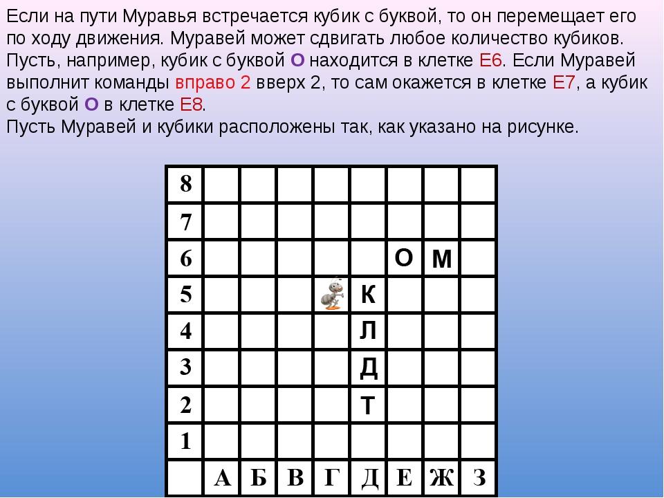 Если на пути Муравья встречается кубик с буквой, то он перемещает его по ходу...