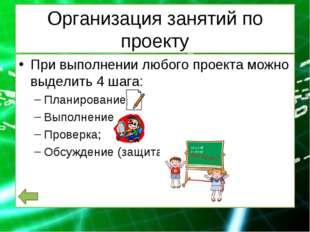 Организация занятий по проекту При выполнении любого проекта можно выделить 4