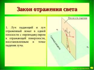 Закон отражения света 1. Луч падающий и луч отраженный лежат в одной плоскост
