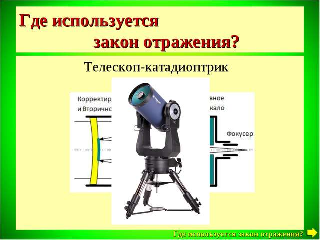 Где используется закон отражения? Телескоп-катадиоптрик Где используется зако...