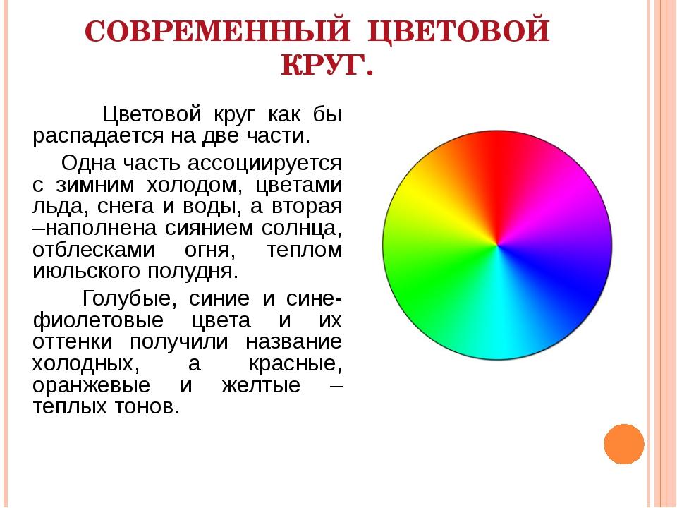 СОВРЕМЕННЫЙ ЦВЕТОВОЙ КРУГ. Цветовой круг как бы распадается на две части. Одн...