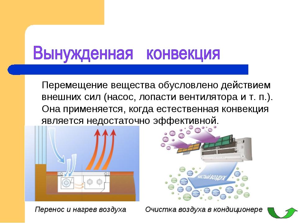 Перемещение вещества обусловлено действием внешних сил (насос, лопасти венти...
