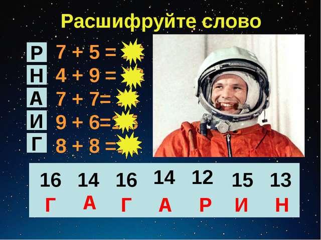Расшифруйте слово 7 + 5 = 12 4 + 9 = 13 7 + 7= 14 9 + 6=1 5 8 + 8 =16 Р Н А И...