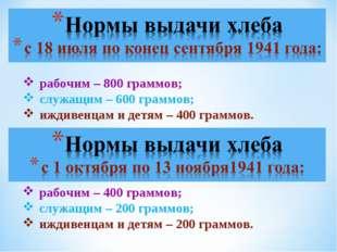 рабочим – 400 граммов; служащим – 200 граммов; иждивенцам и детям – 200 грамм