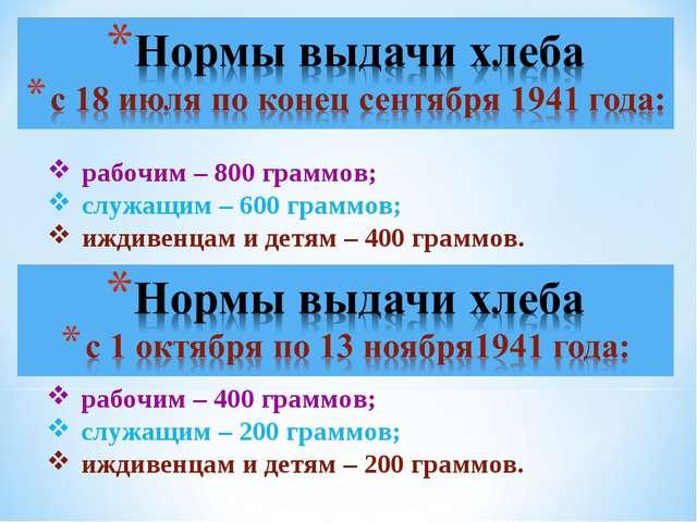 рабочим – 400 граммов; служащим – 200 граммов; иждивенцам и детям – 200 грамм...