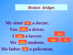 Broken bridges My sister ___ a doctor. You ____ a driver. I ____ a lawyer. We