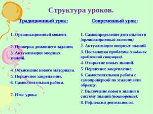 Структура уроков. Традиционный урок: 1. Организационный момент. 2. Проверка