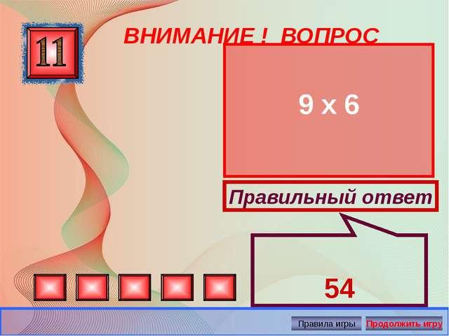 ВНИМАНИЕ ! ВОПРОС 9 х 6 Правильный ответ 54 Автор: Русскова Ю.Б.