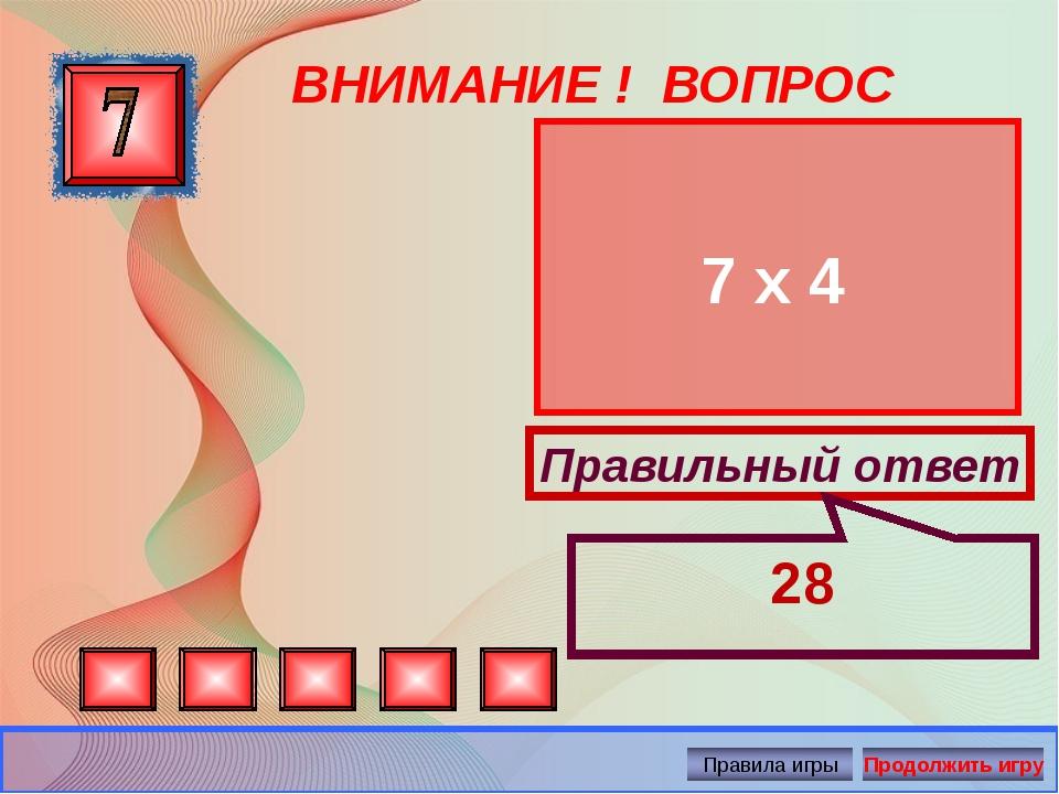 ВНИМАНИЕ ! ВОПРОС 7 х 4 Правильный ответ 28 Автор: Русскова Ю.Б.
