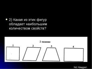 2) Какая из этих фигур обладает наибольшим количеством свойств? №1 Квадрат.