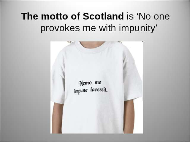 The motto of Scotland is 'No one provokes me with impunity'