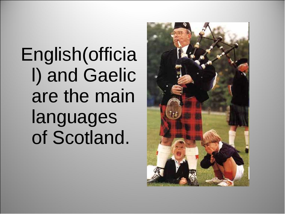 English(official) and Gaelic are the main languages of Scotland.