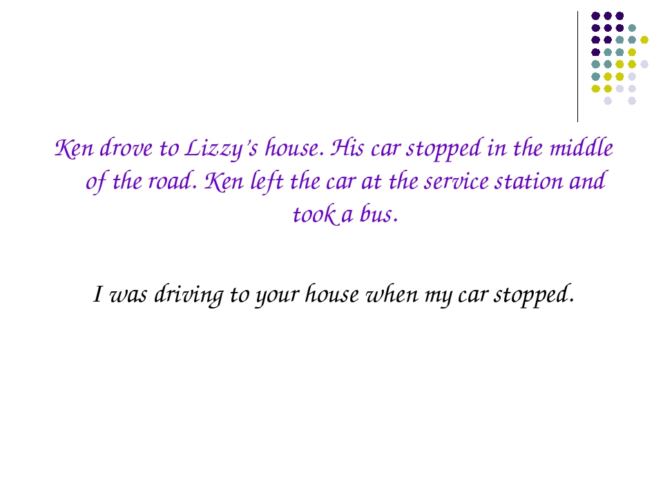 Ken drove to Lizzy's house. His car stopped in the middle of the road. Ken le...