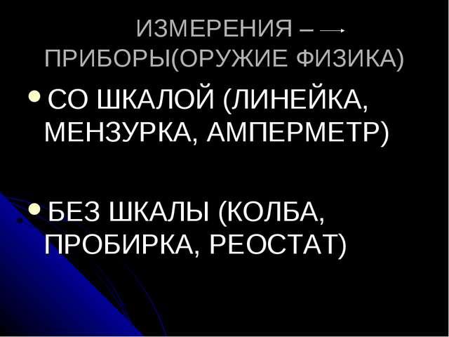 ИЗМЕРЕНИЯ – ПРИБОРЫ(ОРУЖИЕ ФИЗИКА) СО ШКАЛОЙ (ЛИНЕЙКА, МЕНЗУРКА, АМПЕРМЕТР) Б...