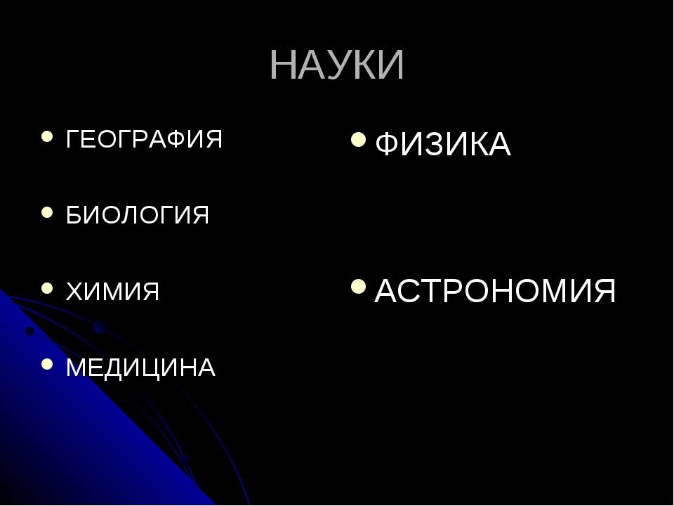 НАУКИ ГЕОГРАФИЯ БИОЛОГИЯ ХИМИЯ МЕДИЦИНА ФИЗИКА АСТРОНОМИЯ