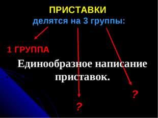 ПРИСТАВКИ делятся на 3 группы: 1 ГРУППА ? ? Единообразное написание приставок.