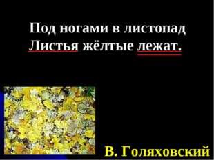 Под ногами в листопад Листья жёлтые лежат. В. Голяховский