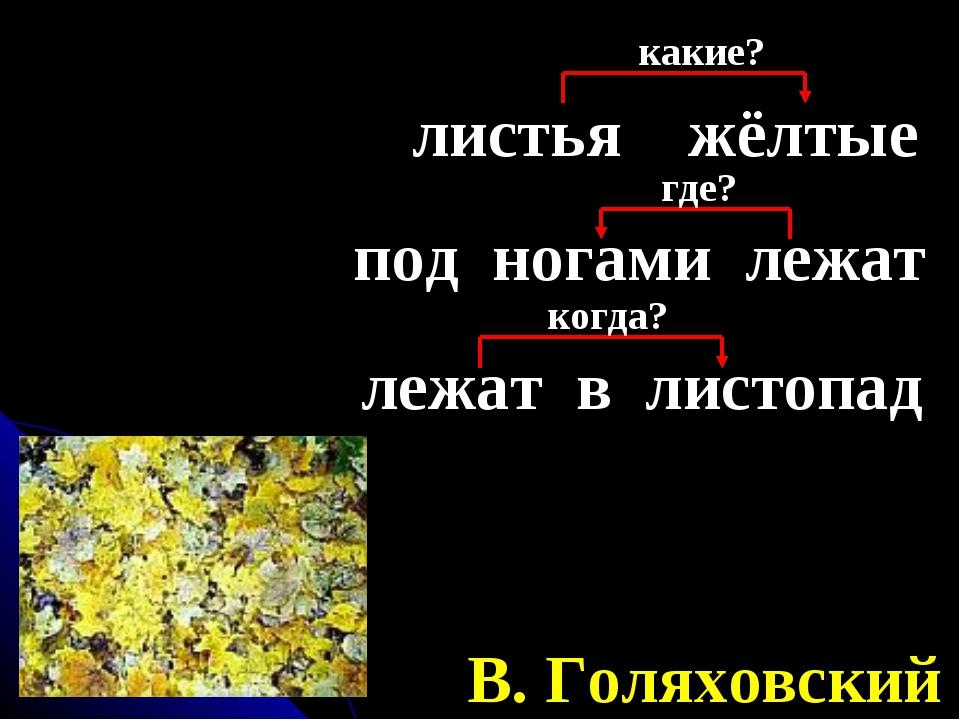 листья жёлтые В. Голяховский какие? под ногами лежат где? лежат в листопад ко...