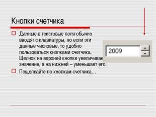 Кнопки счетчика Данные в текстовые поля обычно вводят с клавиатуры, но если э