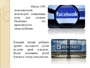 Около15% пользователей используют социальные сети для слежки. Особенно это