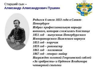 Родился 6 июля 1833 года в Санкт-Петербурге Избрал профессиональную карьеру