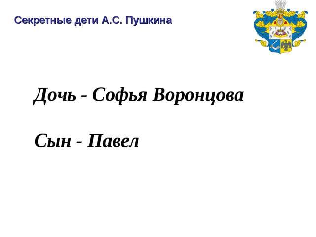 Дочь - Софья Воронцова Сын - Павел Секретные дети А.С. Пушкина