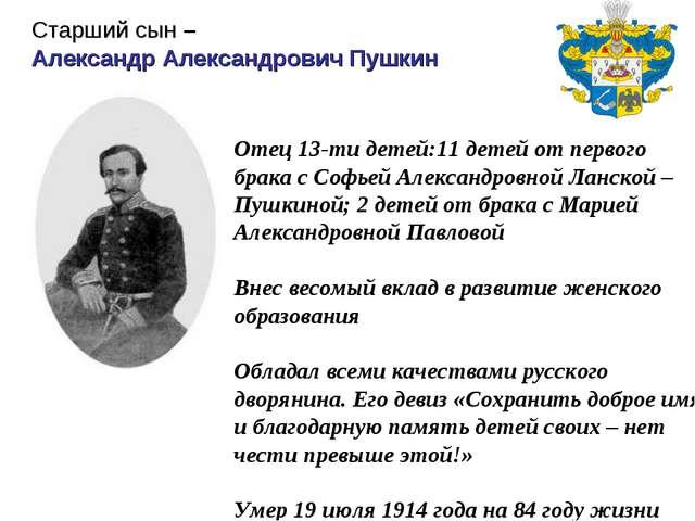 Отец 13-ти детей:11 детей от первого брака с Софьей Александровной Ланской –...