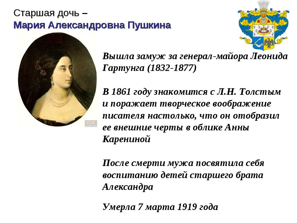 Вышла замуж за генерал-майора Леонида Гартунга (1832-1877) В 1861 году знаком...