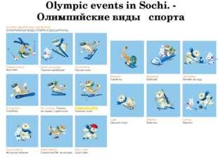 Olympic events in Sochi. - Олимпийские виды спорта