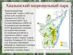 """Хвалынский национальный парк Национальный парк """"Хвалынский"""" создан в 1994 го"""