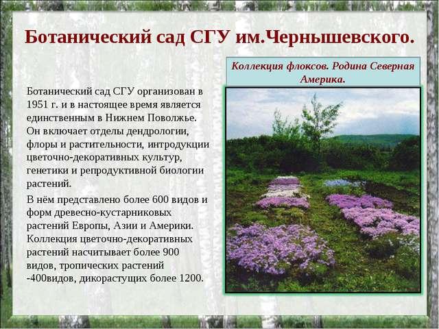 Ботанический сад СГУ им.Чернышевского. Ботанический сад СГУ организован в 195...