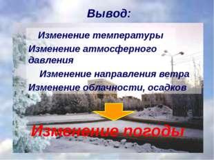 Вывод: Изменение температуры Изменение направления ветра Изменение погоды Изм