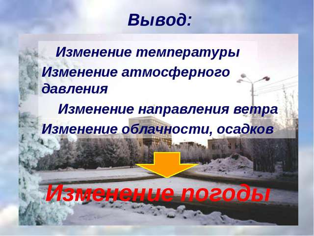 Вывод: Изменение температуры Изменение направления ветра Изменение погоды Изм...