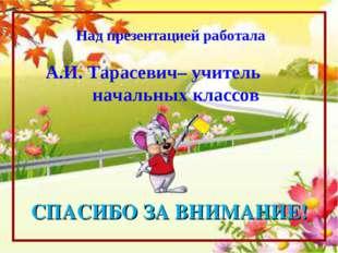 Над презентацией работала А.И. Тарасевич– учитель начальных классов СПАСИБО З