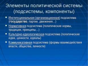 Элементы политической системы (подсистемы, компоненты) Институциональная (орг