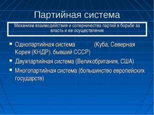 Партийная система Однопартийная система (Куба, Северная Корея (КНДР), бывший