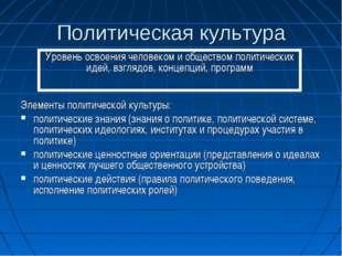Политическая культура Элементы политической культуры: политические знания (зн