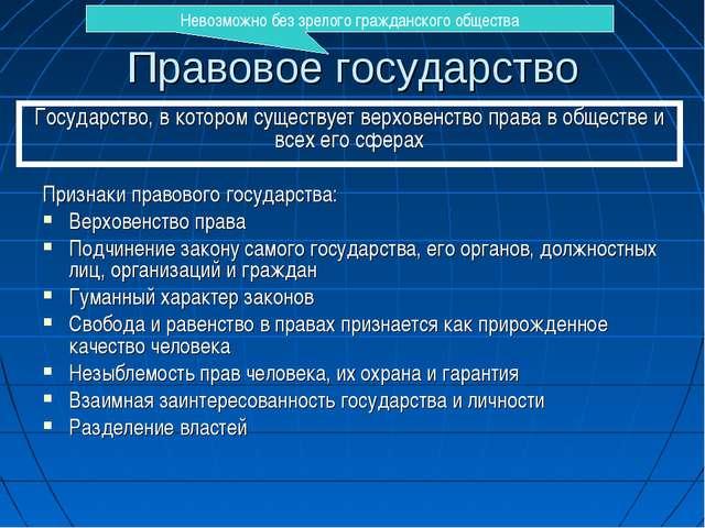 Правовое государство Признаки правового государства: Верховенство права Подчи...