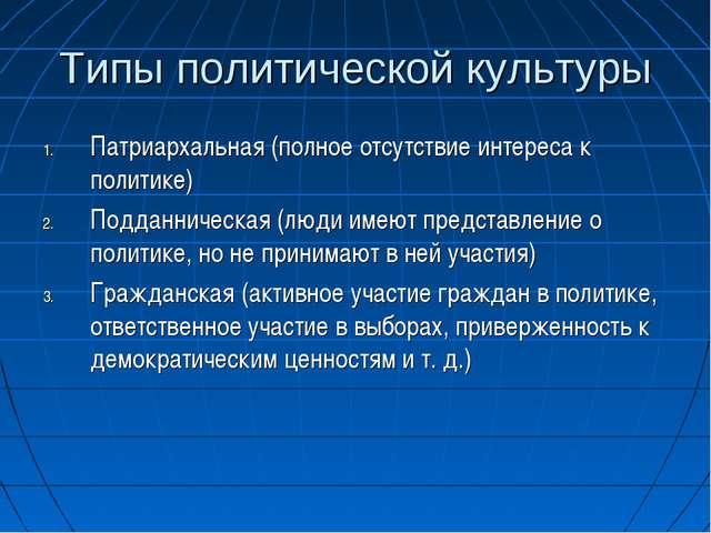 Типы политической культуры Патриархальная (полное отсутствие интереса к полит...