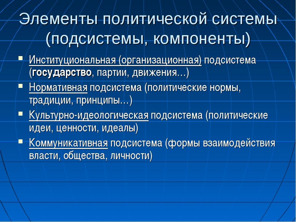 Элементы политической системы (подсистемы, компоненты) Институциональная (орг...
