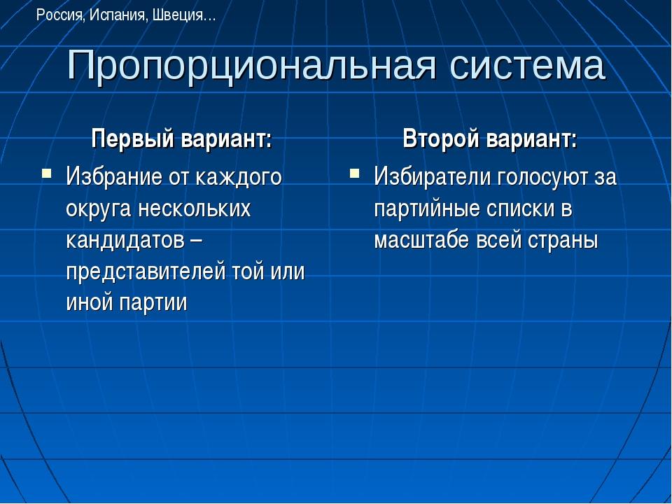 Пропорциональная система Первый вариант: Избрание от каждого округа нескольки...