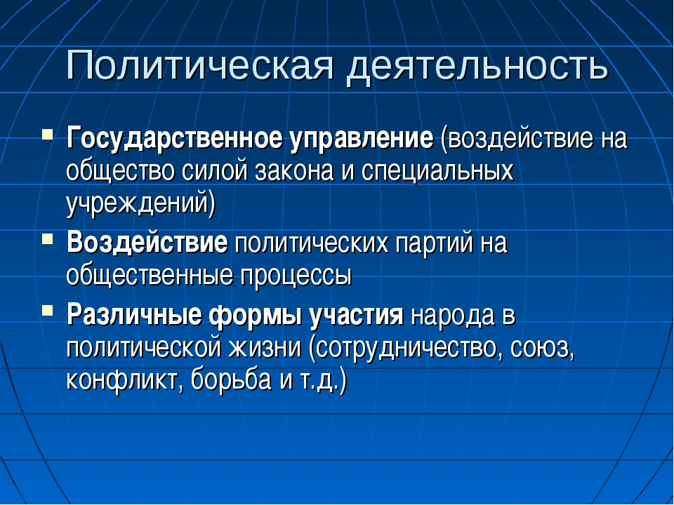 Политическая деятельность Государственное управление (воздействие на общество...
