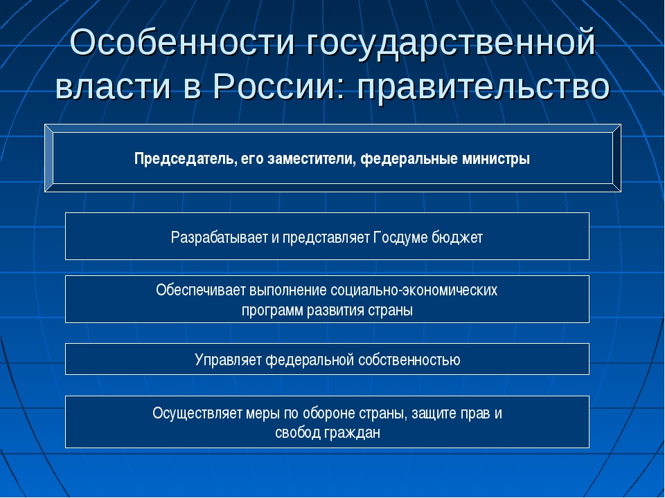 Особенности государственной власти в России: правительство Председатель, его...